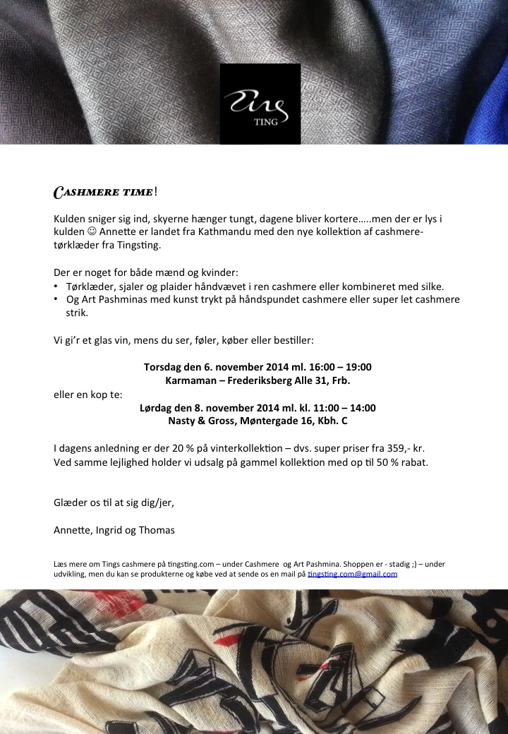 Cashmere Time Invitation November 6 & 8