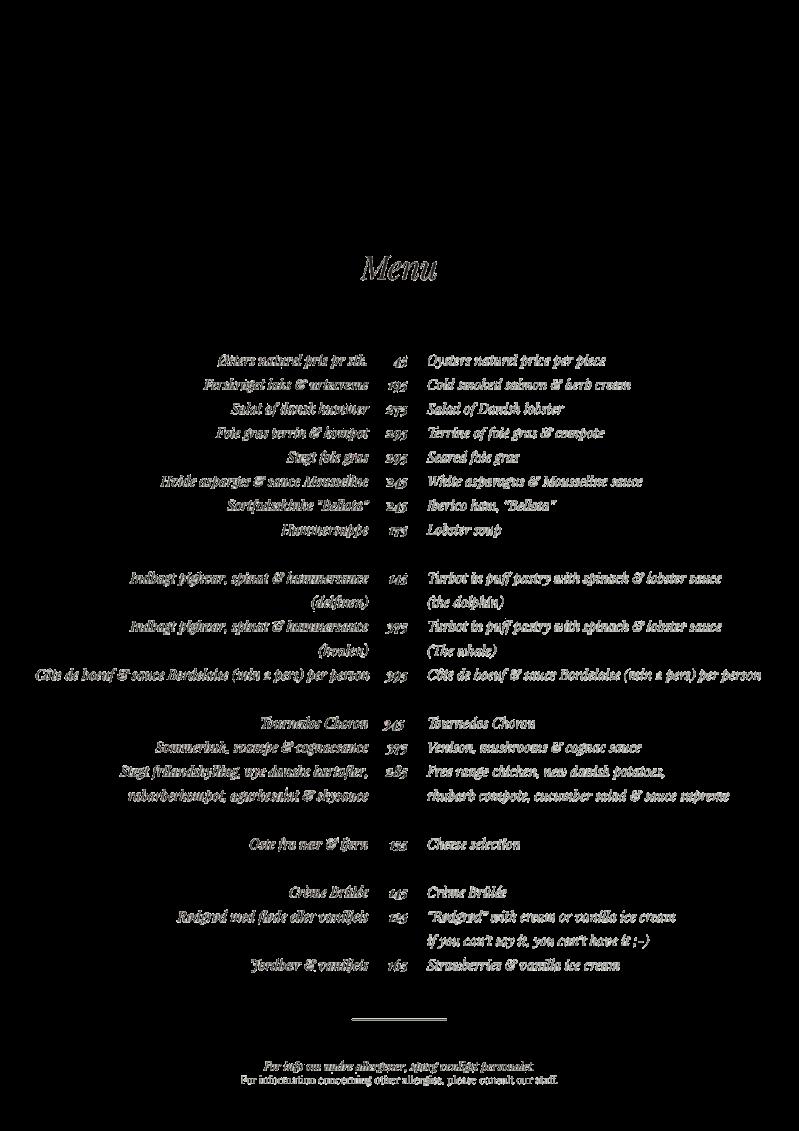 SALON menu Aften Transparant