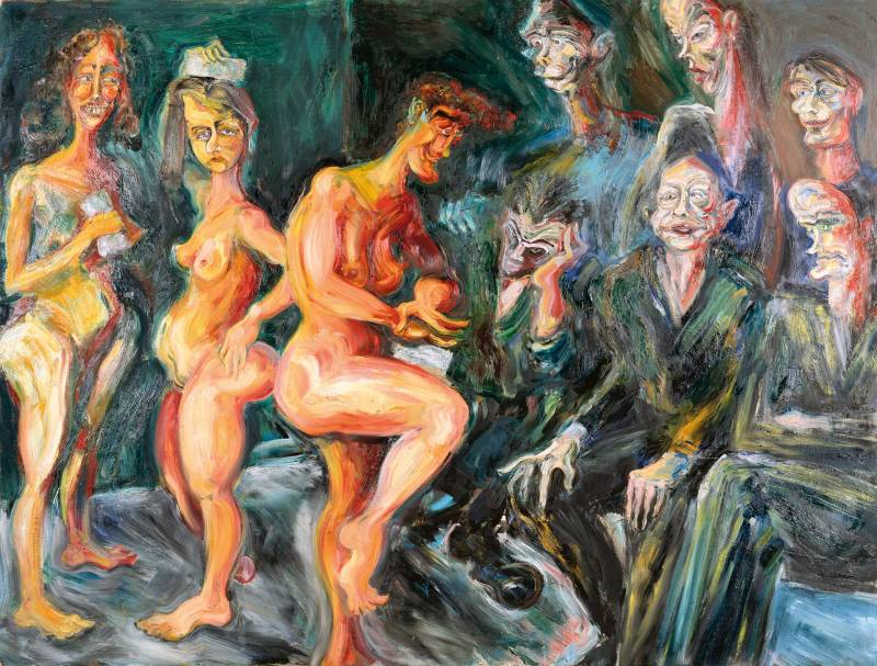 Personerne i billedet Her optræder de tre gratier, i den klassiske mytologi gudinderne for ynde og glæde.Fra venstre mod højre er det billedhuggeren Lone Høyer Hansen, scenografen Bente Lykke Møller, der dengang var Lars Nørgårds kæreste og maleren Dorthe Dahlin, der optræder som gratier. De nøgne kvinder bliver begloet af randen af mandlige kunstnere: Øverst: Erik A. Frandsen, Peter Bonde, og Lars Nørgård selv. Nederst: Christian Lemmerz, Michael Kvium og Claus Carstensen.