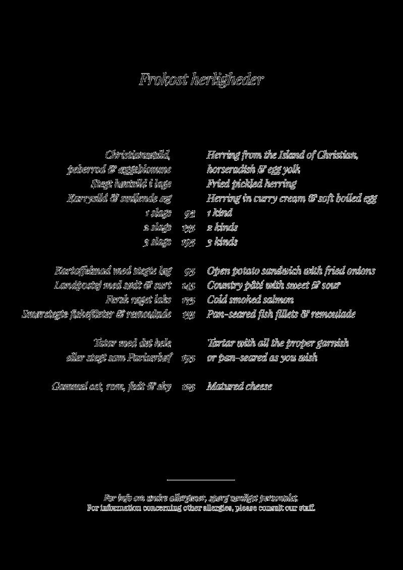Den Røde frokost menu 2018 SALON
